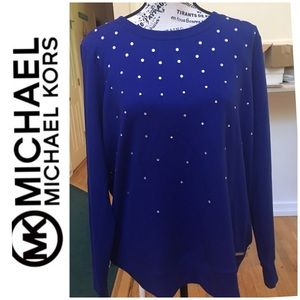 EUC! Michael Kors Cobalt Blue Long Sleeve Top